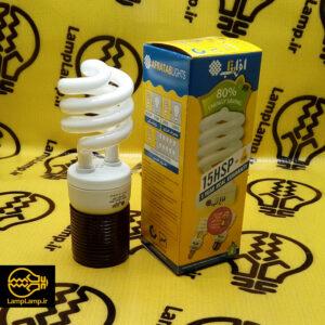 لامپ کم مصرف ۱۵ وات سفید مهتابی برند افراتاب برابر ۱۰ لامپ معمولی