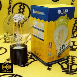 لامپ فیلامنتی ادیسونی 4 وات حبابی بسیار کم مصرف برند افراتاب