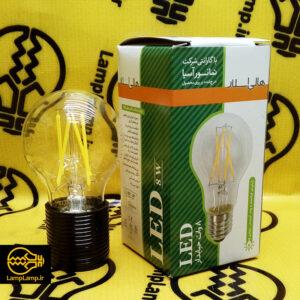 لامپ فیلامنتی 8 وات حبابی سفید e27 هالی استار