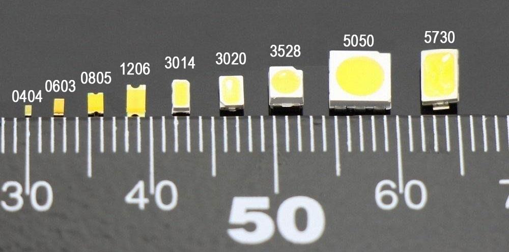 برخی از انواع سایز چیپ ال ای دی اس ام دی
