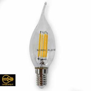 لامپ ادیسونی اشکی ۴ وات پایه e14 لوستری نیرو الکتریک