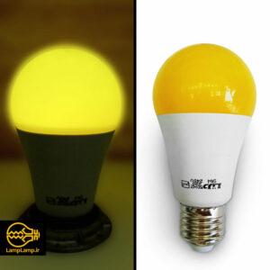 لامپ ال ای دی رنگی زرد ۹ وات پایه e27 دلتا