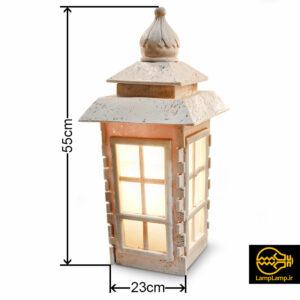 چراغ سنگی حیاطی ارتفاع ۵۵ سانتیمتر مدل آرکا