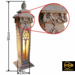 چراغ سنگی محوطه مدل ژوبین ارتفاع ۹۰ سانتیمتر