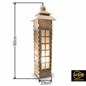 پایه چراغ محوطه باغ و ویلا مدل سنگی ۹۰ سانتی آرکا