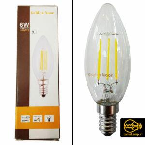 لامپ لوستری فیلامنتی شمعی ۶ وات پایه E14