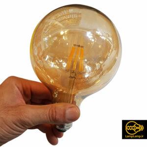 لامپ دکوراتیو فیلامنتی ۸ وات حبابی گرد بزرگ