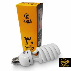 لامپ کم مصرف ۳۰ وات سفید آفتابی مهند