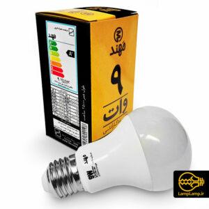 لامپ ال ای دی حبابی ۹ وات پایه E27 مهند