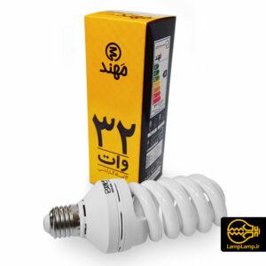 لامپ کم مصرف ۳۲ وات تمام پیچ آفتابی مهند