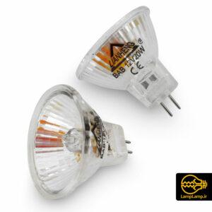 لامپ هالوژن کاسه ای ۱۲ ولت ۲۰ وات پایه سوزنی mr11