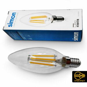 لامپ فیلامنتی ۴ وات شمعی پایه E14 سیمون