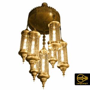 لوستر آویز مراکشی ۷ شعله فلزی آنتیک
