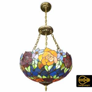لوستر آویز تیفانی شیشه ای دست ساز
