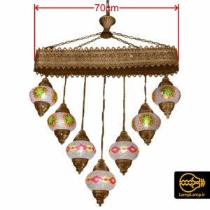 لوستر آویز مراکشی دست ساز مدل ۷ شاخه
