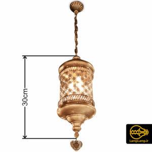لوستر آویز مراکشی مدل سیلندری طلایی طرح گل