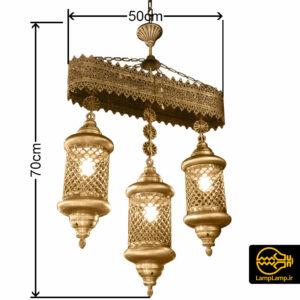 چراغ آویز مراکشی سه فانوسه ارتفاع ۷۰ سانتیمتر