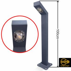 چراغ چمنی ال ای دی فلزی ارتفاع ۱۰۰ سانتیمتر