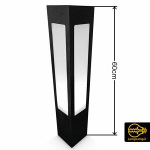 چراغ چمنی مکعبی بدنه فلزی ضد باران ۶۰ سانتیمتر