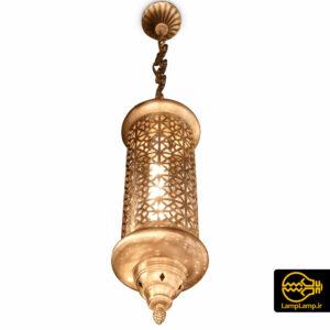 چراغ آویز سقفی مدل مراکشی تک شعله رنگ طلایی