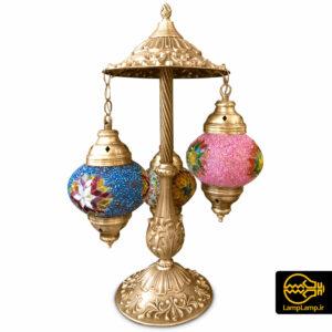 آباژور رومیزی مراکشی ترکی طلایی مات سه حباب