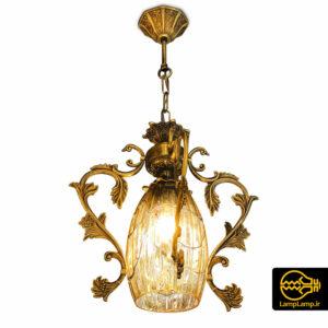 لوستر آویز فلزی طلایی با حباب کریستال شفاف
