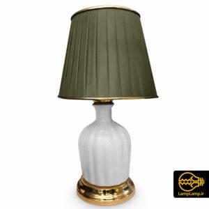 چراغ خواب رومیزی بدنه سرامیک و پارچه