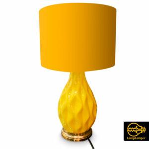 آباژور چراغ خواب رومیزی پایه سرامیکی رنگ زرد