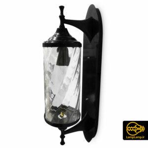 چراغ دیوارکوب حیاطی مدل استوانه فلزی شیشه ای